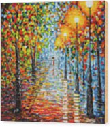 Rainy Autumn Evening In The Park Acrylic Palette Knife Painting Wood Print