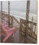 Rainy Beach Evening Wood Print