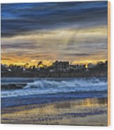 Rainy Beach Wood Print