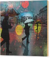 Rainy City Scene Wood Print