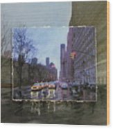 Rainy City Street Layered Wood Print by Anita Burgermeister