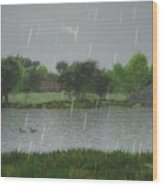 Rainy Day At The Lake Wood Print
