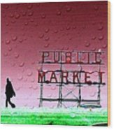 Rainy Day At The Market Wood Print