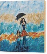 Rainy Day Blues Wood Print