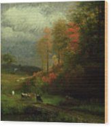 Rainy Day In Autumn Wood Print by Albert Bierstadt
