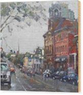Rainy Day In Downtown Brampton On Wood Print