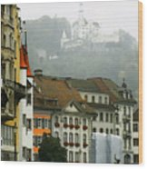 Rainy Day In Lucerne Wood Print