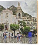 Rainy Day In Taormina 2 Wood Print