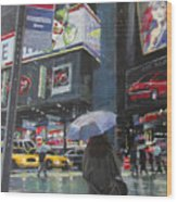 Rainy Day In Times Square Wood Print