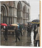 Rainy Day In Venice Wood Print