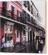 Rainy Day On Bourbon Street Wood Print