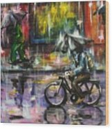 Rainy Day Original Painting Wood Print