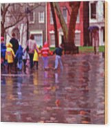 Rainy Day Rainbow - Children At Independence Square Wood Print