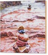 Rainy Day Stone Cairns In Sedona Wood Print