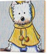 Rainy Day Westie Wood Print