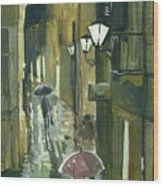 Rainy Evening In Kotor Wood Print