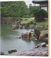 Rainy Japanese Garden Pond Wood Print