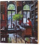 Rainy Morning In The Restaurant Wood Print