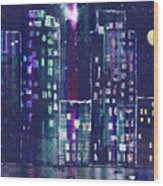 Rainy Night In The City Wood Print by Arline Wagner