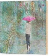 Rainy In Paris 3 Wood Print