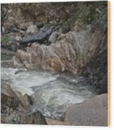 Rainy Rocky Rapids Wood Print