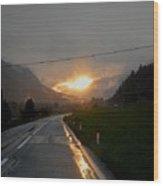 Rainy Sunset Wood Print