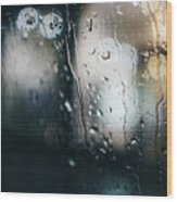 Rainy Window City Lights Wood Print