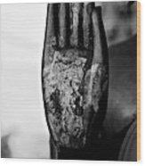 Raised Buddha Hand - Black And White Wood Print
