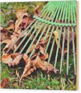 Raking The Fallen Autumn Leaves Wood Print