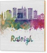 Raleigh V2 Skyline In Watercolor Wood Print