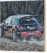 Rally Car Wood Print