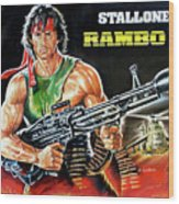 Rambo 2 Sylvester Stallone Paintinf Wood Print