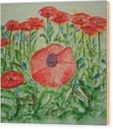 Ramonas Poppies Wood Print