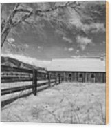Ranch In Winter Wood Print