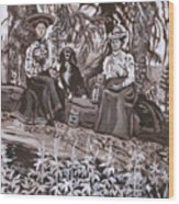 Ranch Women Picking Berries Historical Vignette Wood Print