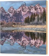 Grand Teton Snow Capped Reflections Wood Print
