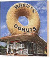Randy's Donuts Wood Print by Russell Pierce