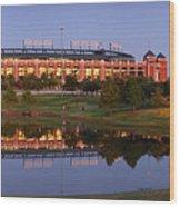 Rangers Ballpark In Arlington At Dusk Wood Print