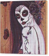 Ranita Day Of The Dead Wood Print
