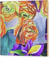 Ranunculus And Iris Wood Print