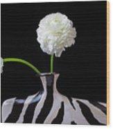 Ranunculus In Black And Whie Vase Wood Print
