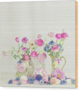 Ranunculus With Love In A Mist Wood Print