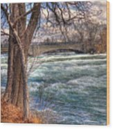 Rapids In Fall Wood Print