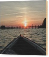Rapphannock Kayak Sunset Wood Print