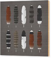 Raptor Feathers - Square Wood Print by Peter Green