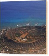 Rare Aerial View Of Extinct Volcanic Crater In Hawaii.  Wood Print