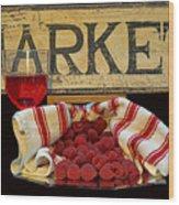 Raspberries At The Market Wood Print
