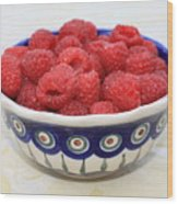 Raspberries In Polish Pottery Bowl  Wood Print