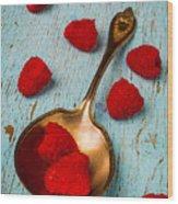 Raspberries With Antique Spoon Wood Print