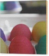 Raspberry And Hawaiian Surf Colored Easter Eggs Wood Print